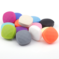 50pcs Lot Silicone Teething Beads 20mm Chewable Baby Teether Quadrate Faceted Bead For Nursing Necklace Diy