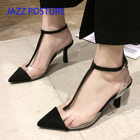 1aa4db7861 Classic Shoes Pointed Toe High Heels Clear PVC Stiletto Transparent Pumps  For Women Fashion Banquet Casual