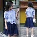 Лето девушки одежда наборы 2017 синий полосатый футболки топы сетки юбки костюмы для маленьких девочек-подростков 2 шт. дети набор