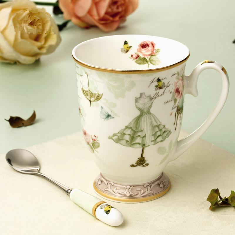 Creative 330ml Flower Green Dress Painting Creamic Milk Mug Coffee Cup Afternoon Tea Cup with Lids and Spoon Birthday Gift