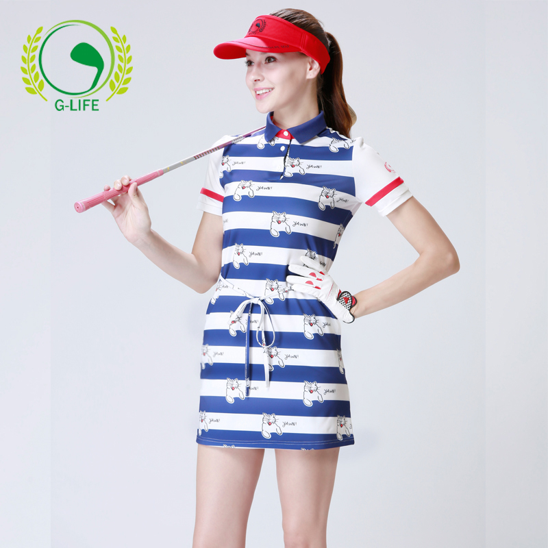 G-life lady golf dress summer girl sports apparel women sweat absorbing quick-dry slim top dress stripe one-piece shirt dress