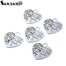 10pcs Antique Silver Plated Hollow Engraved Words Mother And