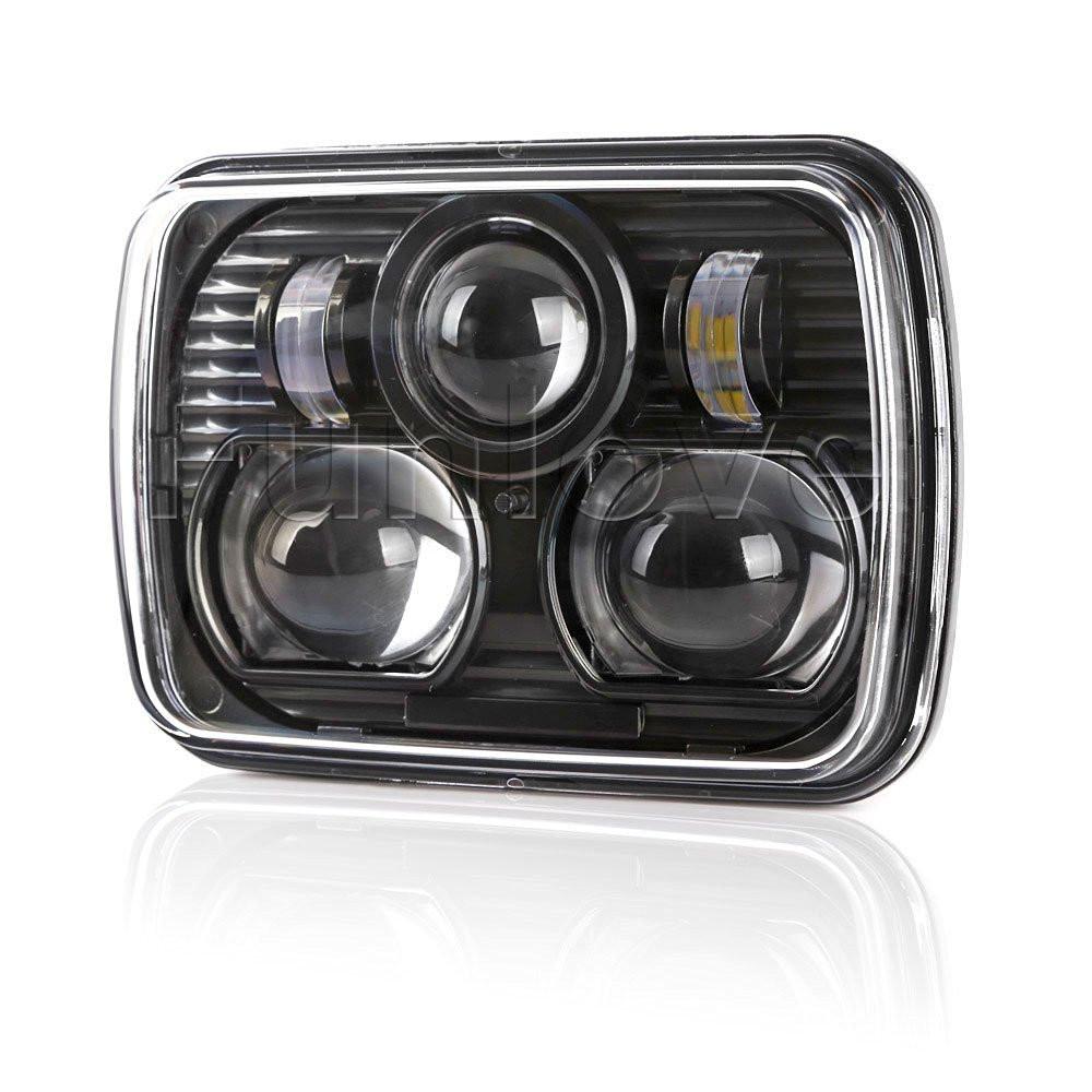 Black 5 X 7 LED Headlights Replacement for Jeep Cherokee XJ Trucks (3)