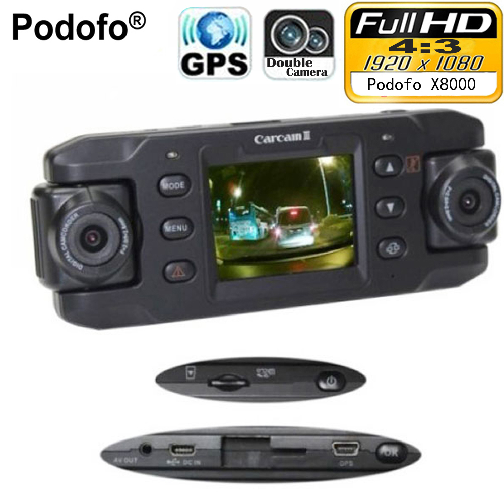 Podofo Dual Lens Car Camera Two Lens Vehicle DVR Dash Cam Loop Recorder GPS Tracker Tracking G-sensor CA365 X8000 Twins Cam DVRs