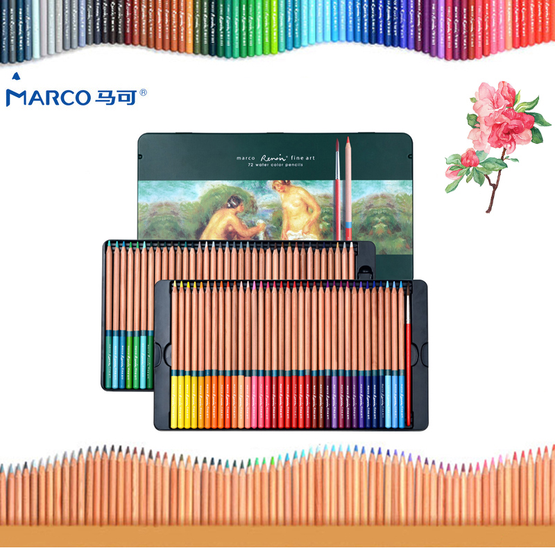 Marco 24/36/48/72 Colors/set Watercolor Colored Pencil Professional Drawing Pencils School Pencils lapices de Color Art Supplies цена