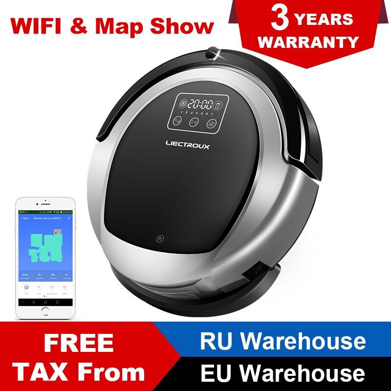 LIECTROUX B6009 Roboter Staubsauger Wifi, Karte Display, Karte Navigation, UV Lampe, 1.0L Großen Mülleimer, 3000 Pa, Nass und Trocken Wischen