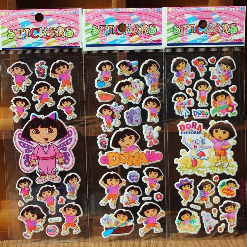 % 10 pcs/Lot 3D Dora princess Kids Stickers Toys Bubble stickers Teacher Lovely Reward Stickers For Girls/Boys Birthday Gift