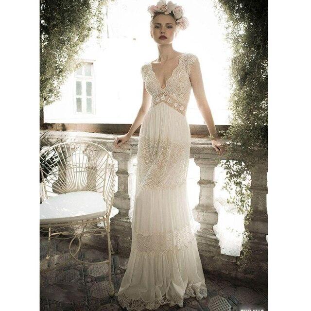 fb7f63699a0 Backless Chiffon Bridal Gown Boho Vintage Robe De mariee Blanche Mariage  Trouwjurk Gelinlik Turkey 2018 bridesmaid dresses