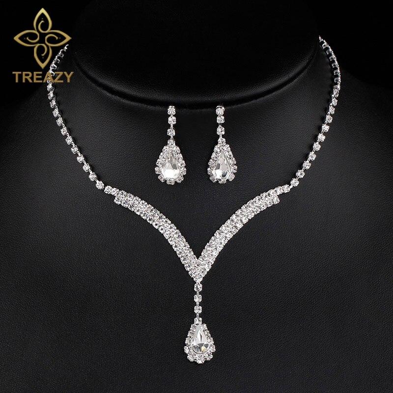 005e41d156eb TREAZY 4 colores cristal nupcial conjuntos de joyas en forma de V lágrima  gargantilla collar pendientes boda fiesta joyería conjuntos para mujer