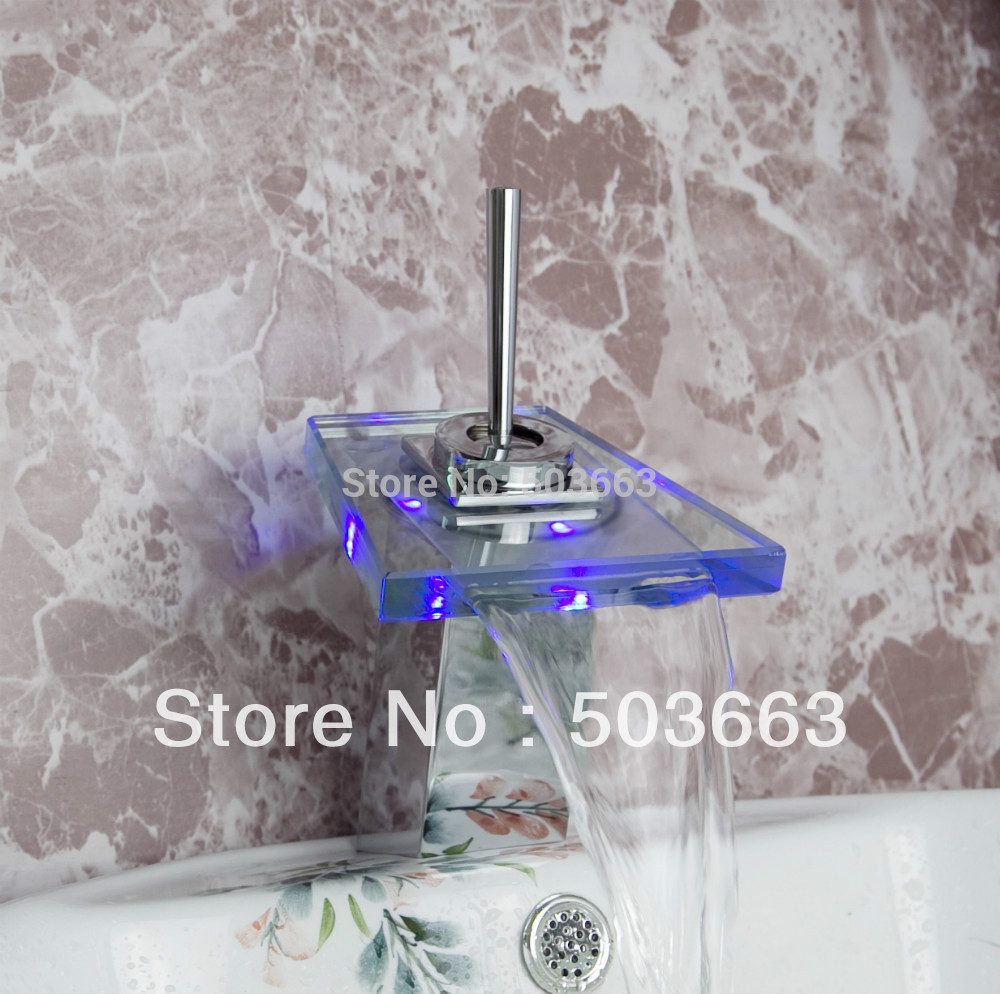 YANKSMART Rotate Handles LED Battery Power 3 Colors Waterfall Bathroom Basin Sink Mixer Tap Polished Chrome Faucet  CM0179 free shipping polished chrome finish new wall mounted waterfall bathroom bathtub handheld shower tap mixer faucet yt 5333
