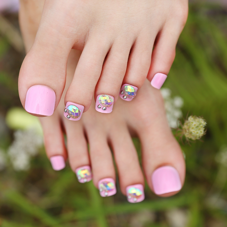 New Arrival 24pcs Reflective Rhinestone Pink False Toe Nails Short ...