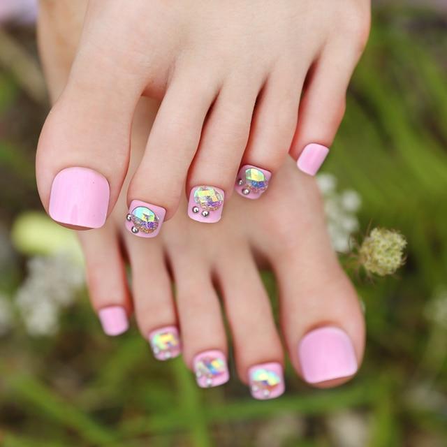 New Arrival 24pcs Reflective Rhinestone Pink False Toe Nails Short ...