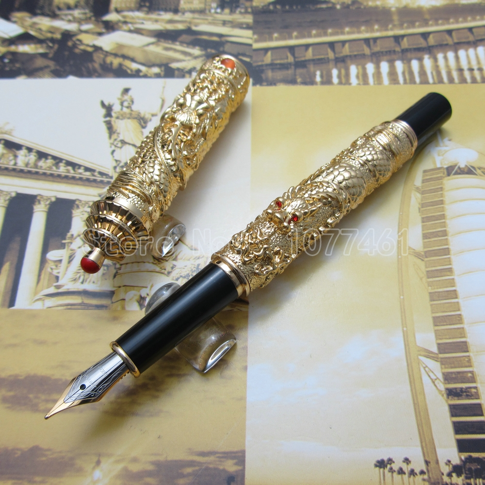 Jinhao Chinese double Dragons Playing With The Pearl and Guta Fountain Pen with Gift Box Gold White Silver Optional JR59L3 9901 fine financia pen student pen art fountain pen 0 38 0 5 0 8mm optional gift box set