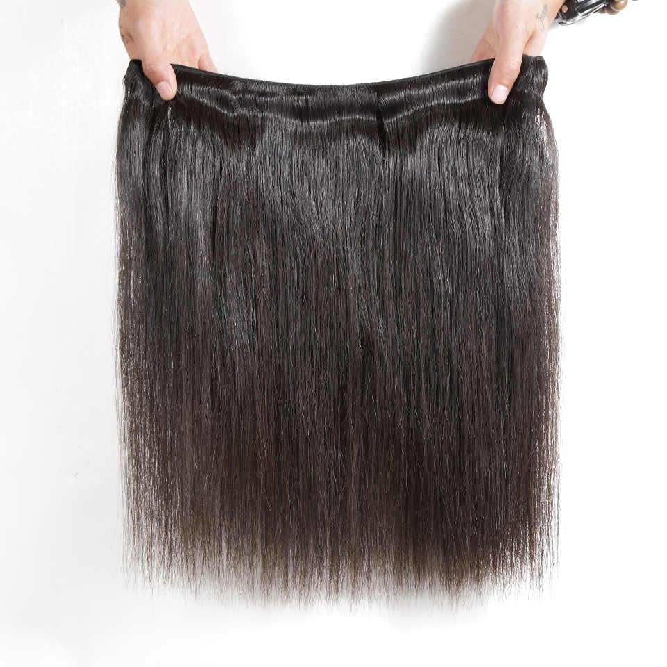 ILARIA cabello 7A recto peruano de la Virgen paquetes de pelo 2 unids/lote 100% armadura del pelo humano Remy de la trama del pelo de la parte superior de Color Natural calidad