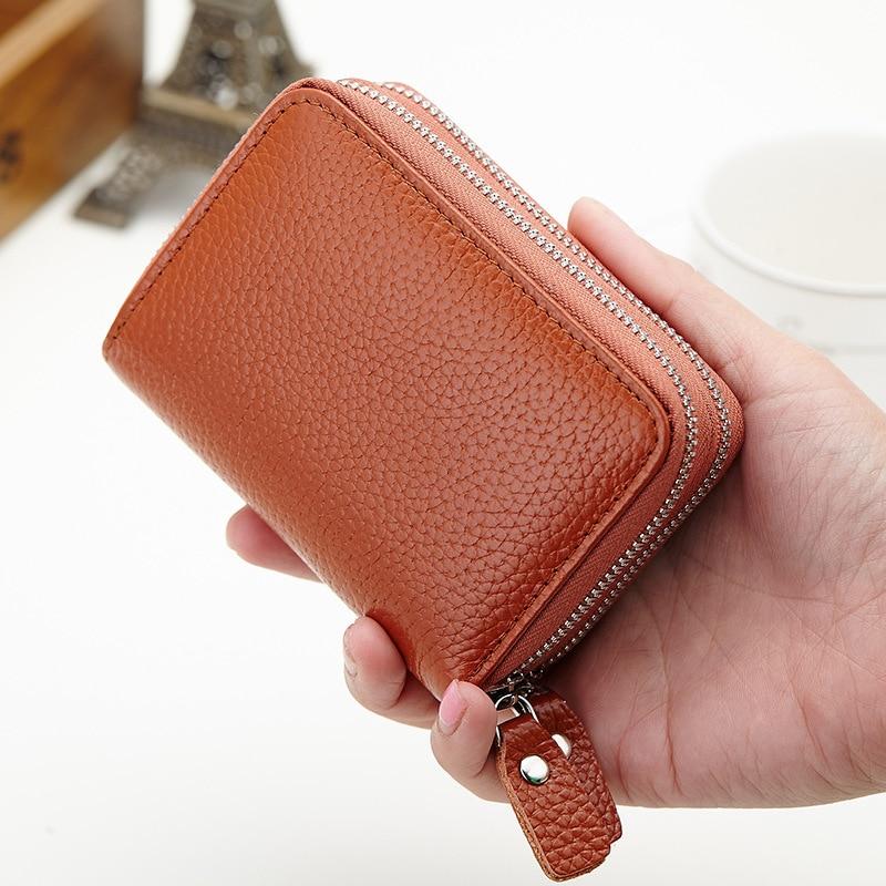 TANGIMP Double Zipper Credit Card Holder RFID Genuine Leather Women ...
