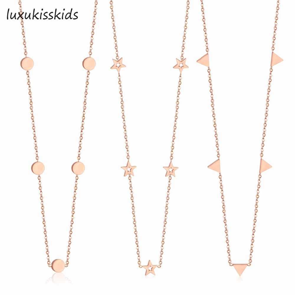 LUXUKISSKIDS New Arrival Rose Gold Color Round Star Cricle Stainless Steel Chokers Necklaces For Women Fashion Chains Jewelry