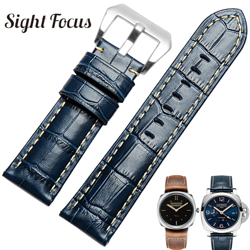 22mm 24mm 26mm Men Replacement Watch Strap Band for Panerai Watch Strap Leather Blue Watchbands Pulseira Relogio w Holder Correa 3 colors 24mm 26mm watch band smooth soft genuine leather strap for wrist watch men aviator style replacement 2 spring bars