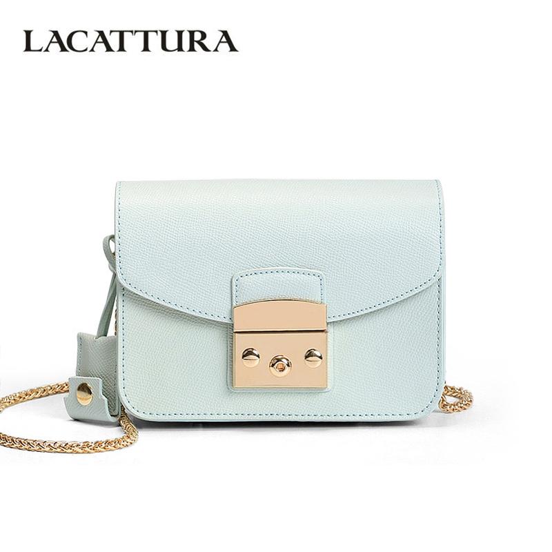 2b84e261eb LACATTURA Mini Candy Bag Women Messenger Bags Cowhide Leather Brand Handbag  Ladies Chain Shoulder Bag fashion Crossbody new item