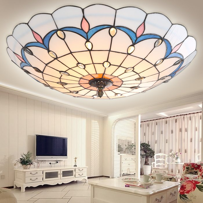 Fashion tiffany colorful glass iron led ceiling light vintage Peacock home deco living room tin solder handmade ceiling lamps tiffany mediterranean style peacock natural shell ceiling lights lustres night light led lamp floor bar home lighting
