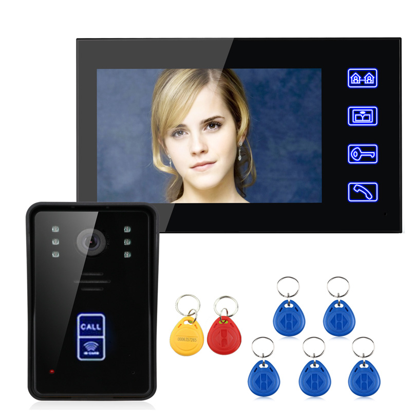 SmartYIBA Wired 7 LCD Video Door Phone Intercom System Kit Doorbell RFID Unlock with IR Night Vision Waterproof Touch ButtonSmartYIBA Wired 7 LCD Video Door Phone Intercom System Kit Doorbell RFID Unlock with IR Night Vision Waterproof Touch Button