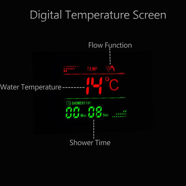 Luxury LED Shower Column Faucet Brushed Nickel SPA Massage Jet Shower Panel Tower Tap Digital Temperature Screen Bathroom Faucet