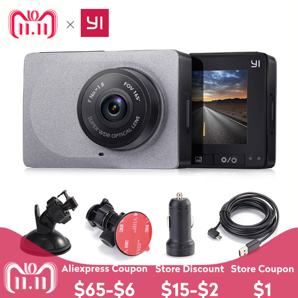 Internacional edición Xiaomi YI inteligente DVR de coche 165 grados 1080 p 60fps Detector de coche 2,7