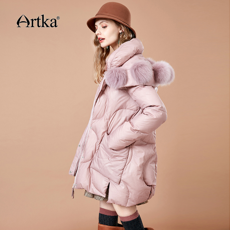 ARTKA 2018 Women Winter Solid 90% Duck   Down     Coat   Thick Fur Pompom Collar Hooded Female Warm Long Outwear with Pockets ZK10281D