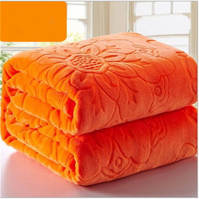 luxe qualit flanelle couverture polaire corail couvre lit solide orange couleur adulte multi draps - Couverture Lit