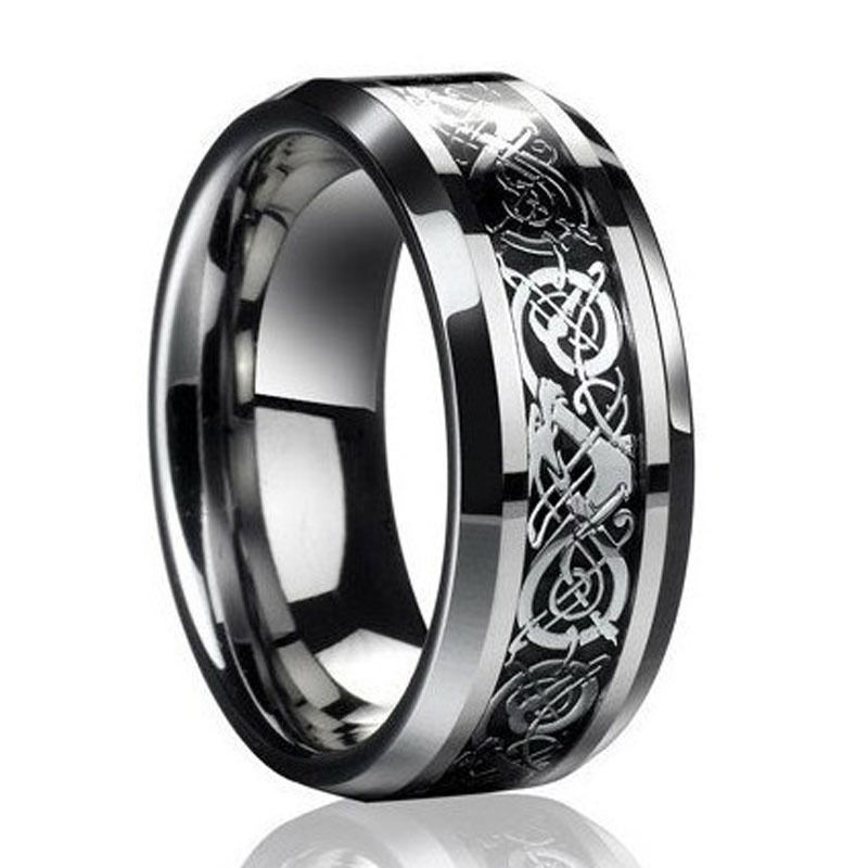 Fine Jewelry Stainless Steel Dragon Ring Mens Wedding Band Male For Valentine Present