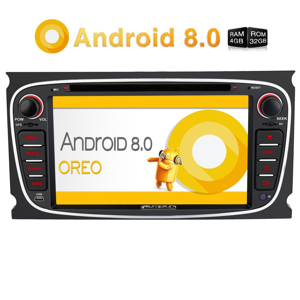 Pumpkin 2Din 7Android 8.0 Car DVD Player Qcta Core Car Stereo For Ford Mondeo/Focus GPS Navigation Wifi 4G Fast Boot Headunit