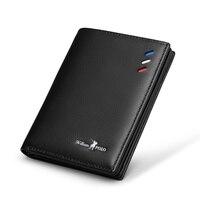Leather Mens Wallet Slim Business Card Credit Card Card Holder Purse Real Cowhide Men Fashion Casual Mini Card Bag Bifol