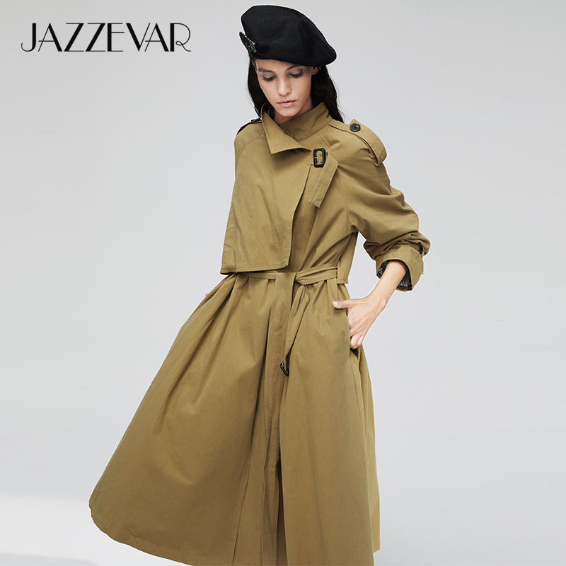 JAZZEVAR 2019 New Arrival Autumn Trench Coat Women Casual Long Cotton Washed Outwear Loose Clothing With Belt Women Fashion 9001