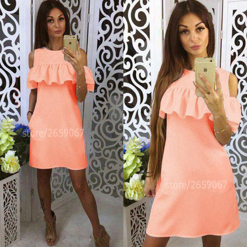 Cold Shoulder Ruffles Solid Colour Summer Dress Women 2018 O-Neck Butterfly Sleeve Casual Dress Party Mini Dresses