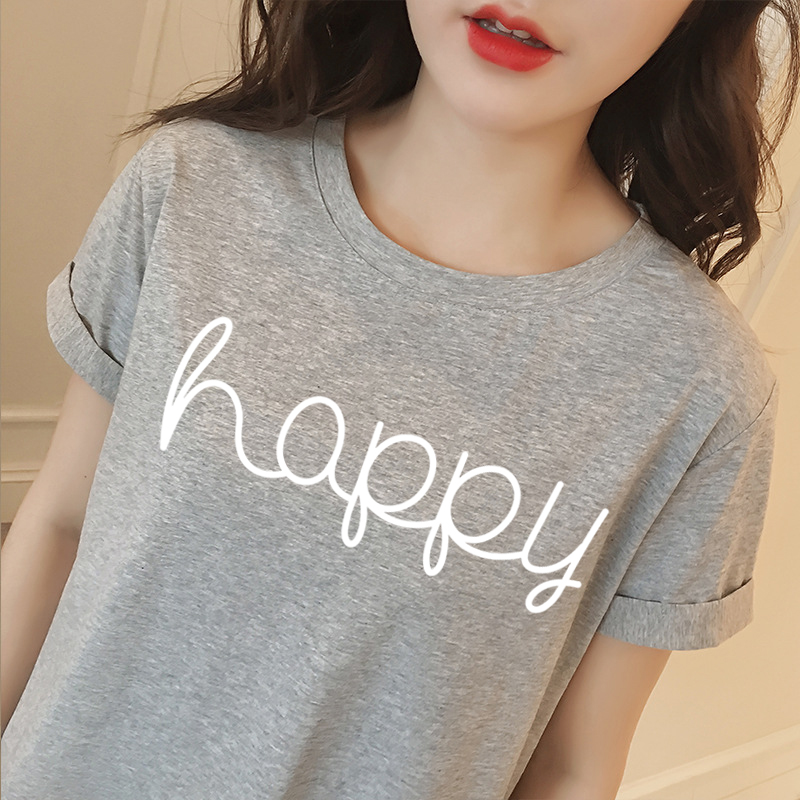 Korean Style Summer Female T-shirt Wholesale Casual Lady Brand Tops Tee Happy Letter Print Women's T Shirts Loose T-Shirt BTS