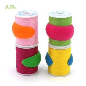 Image 5 - Chainho,12pcs/bag,Mix Color,Small Silicone Rubber Bobbin Clip,Use For Anti wire Head Fall off,Spool Fixing Clip,DIY Sewing Tools