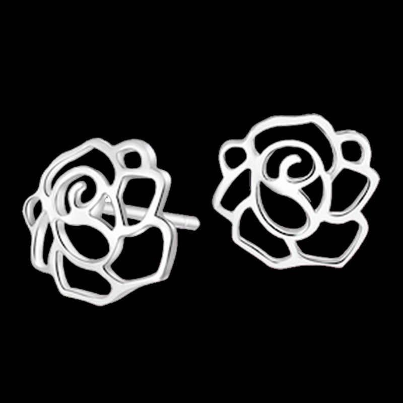 100% 925 เงินสเตอร์ลิงแฟชั่นกุหลาบดอกไม้ ladies'stud ต่างหูเครื่องประดับป้องกันโรคภูมิแพ้ผู้หญิงหล่น shipping วันเกิดของขวัญราคาถูก