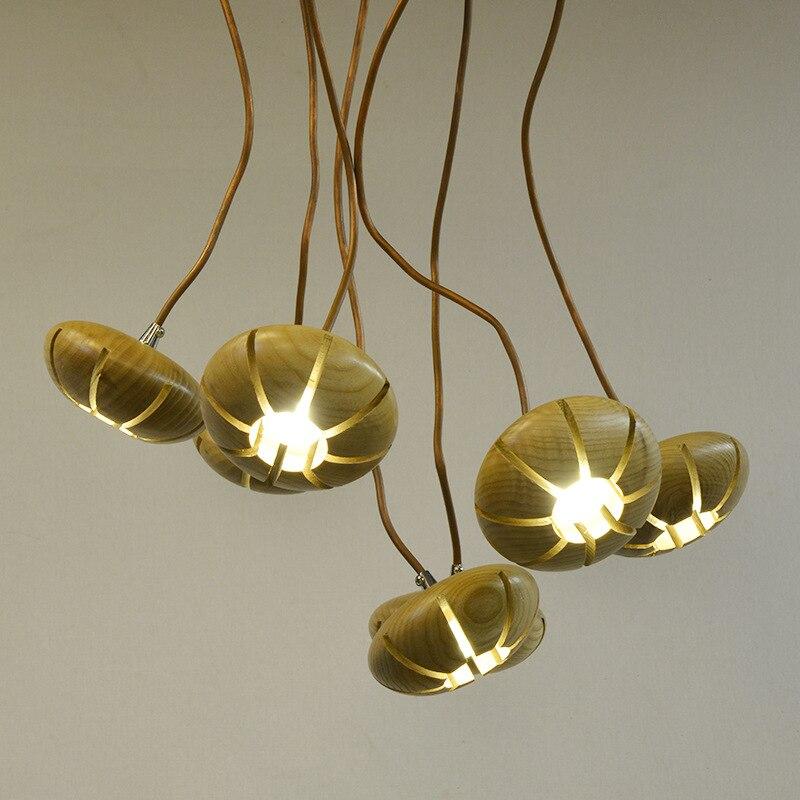 Nordique laiton tube lustre personnalité créative salon salle à manger bois art en bois simple éclairage solide bois lustre