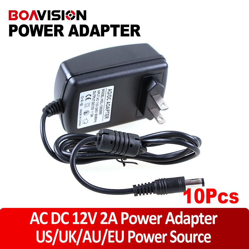 10pcs/lot  AC DC adapter 12V 2A camera 12V power supply CCTV Security Camera POWER SUPPLY ADAPTER dc 12v 5a ac adapter cctv power supply adapter box 1 to 8 port for the cctv surveillance camera system abs plastic
