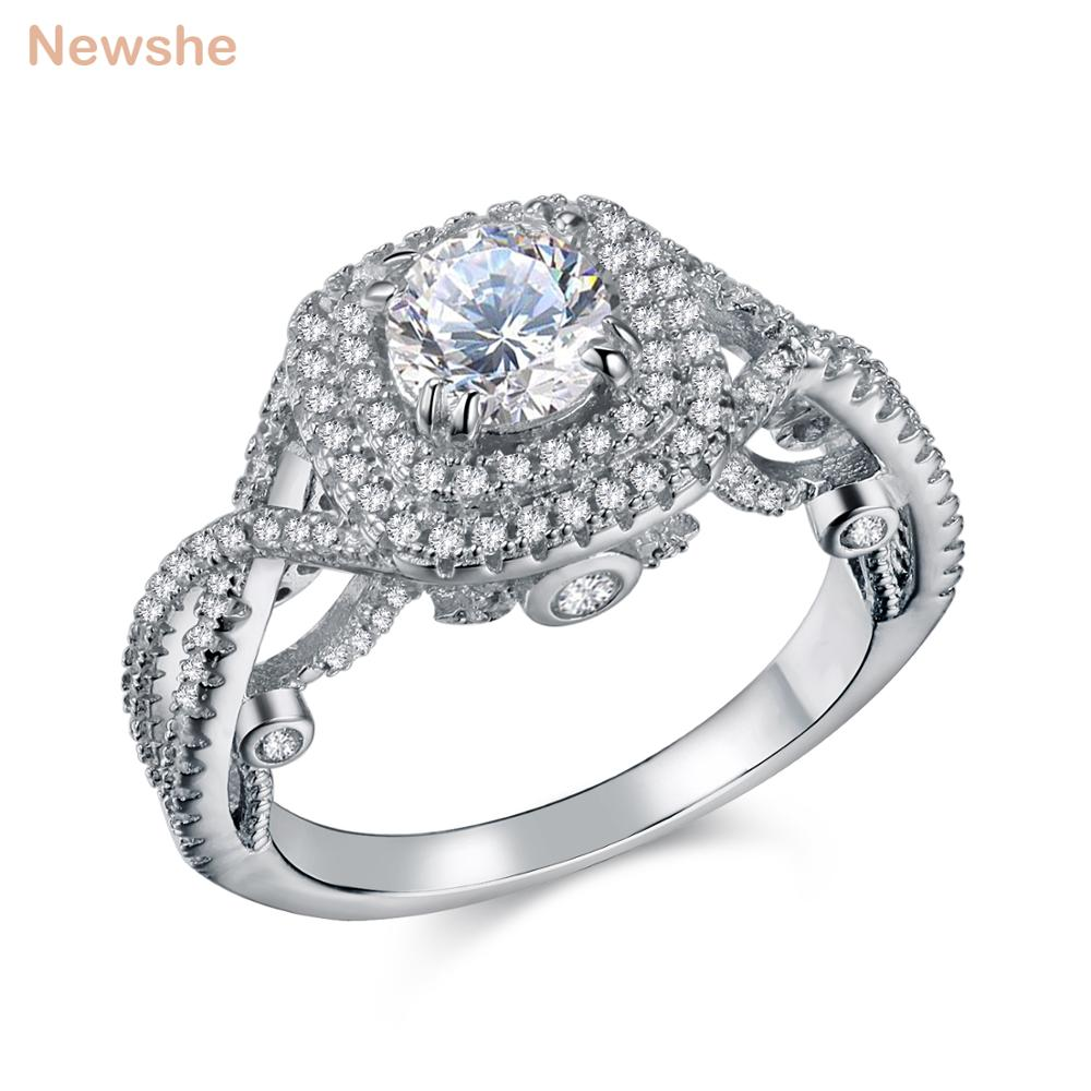 Newshe 2.4 Ct Round AAA CZ Solid 925 Sterling Silver Halo Wedding Engagement Ring Classic Jewelry For Women JR4694