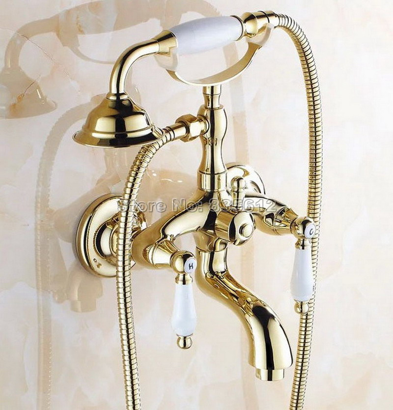 Bathroom Wall Mounted Gold Color Brass Dual Ceramic Handles Bath Tub Mixer Tap with Handheld Shower Head Faucet Wtf084Bathroom Wall Mounted Gold Color Brass Dual Ceramic Handles Bath Tub Mixer Tap with Handheld Shower Head Faucet Wtf084