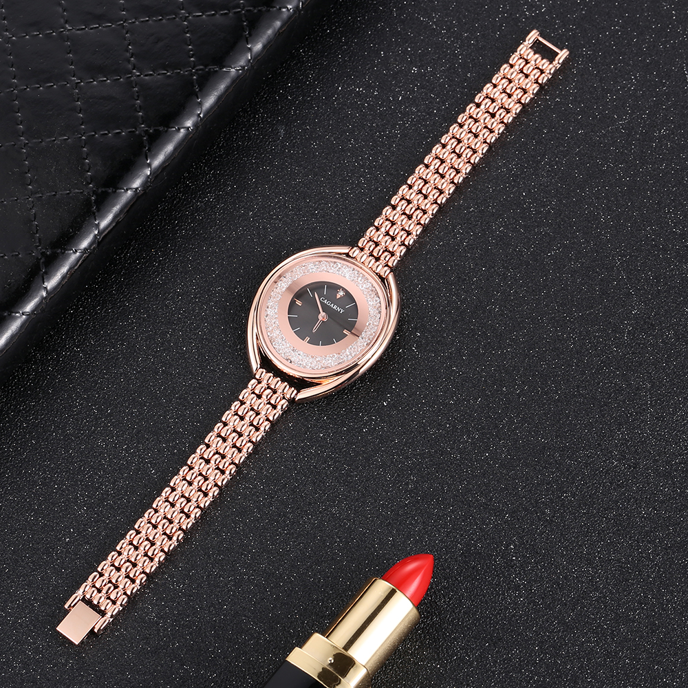 top luxury brand cagarny quartz watch women fashion ladies wristwatches crystal rose gold case creative design free shipping (3)