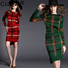 Gilet Femme Manche Longue Hiver 2018 Autumn Winter Knitted 2 Piece Set Women Sweater Dress Long Sleeve Plaid women's sweaters(China)