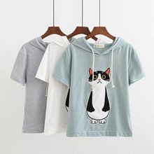 Camisetas Special Offer New Arrival Cotton Broadcloth Blusa 2017 Summer Loose Sleeved T-shirt Printing Cartoon Hooded Yq4527