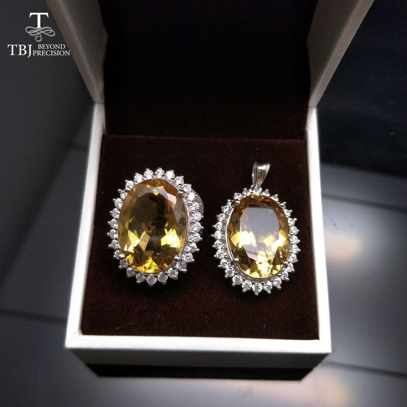 TBJ, grand ensemble de bijoux en pierres précieuses Diana pendentif et bague en Citrine du brésil naturel en argent cadeau de fête d'anniversaire de fiançailles de mariage