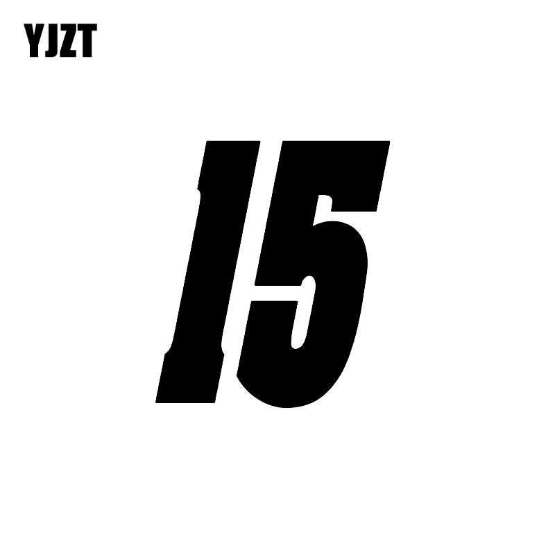 YJZT 11.8CM*13.5CM Fashion Lucky Number 15 Vinyl Car-styling Car Sticker Decal Graphical Black/Silver C11-0825