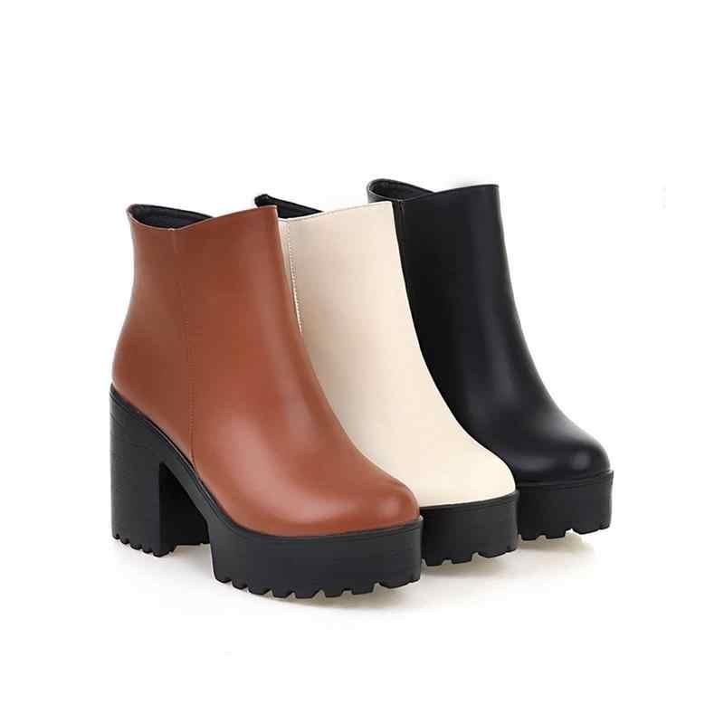 MoonMeek Yeni gelmesi asil basit zip olgun kalın yüksek topuk kadın zarif yarım çizmeler moda yuvarlak ayak büyük boy kışlık botlar
