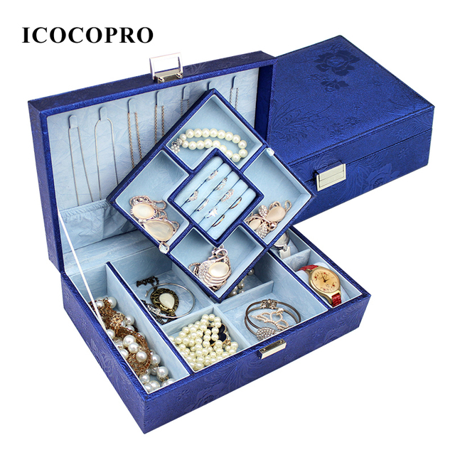 ICOCOPRO Jewelry Organizer Case Necklace Holder Box Travel Watch