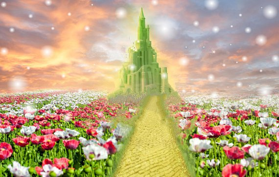 emerald city fairy tale enchanted princess castle flower grass sunset backdrop Vinyl cloth Computer print wall Background цена и фото