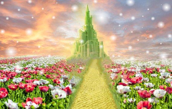 Изумрудный город Сказочный Зачарованный Принцесса замок Цветок Трава закат фон виниловая ткань компьютерный принт настенный фон