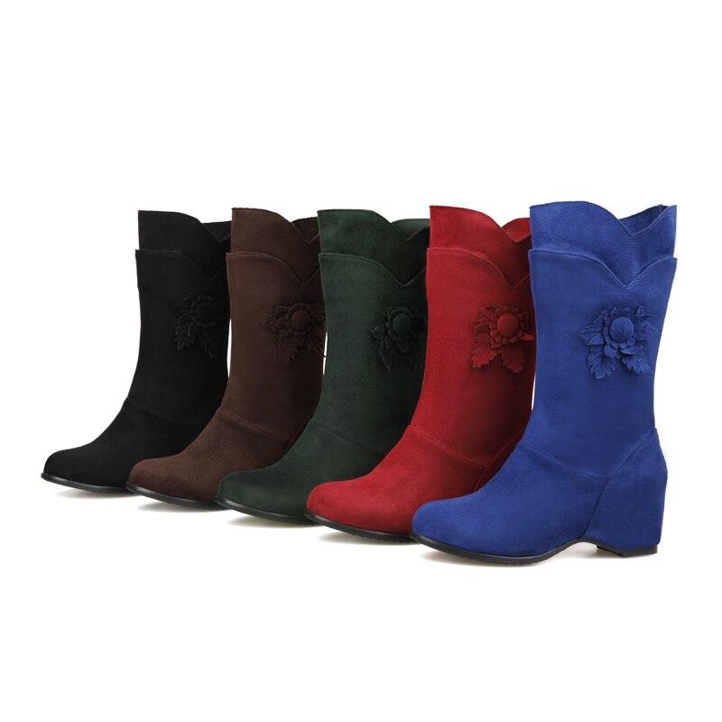 2015 Chaussures Talons brown green Hauts 28 Croissante Hauteur Mode blue De red Appliques À veau Black Hqw Grande 52 Taille Hiver Femmes Bottes Mi Neige Nouveau 101 rwnqAr0P